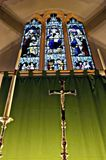 Stained glass window and cross Royalty Free Stock Photo