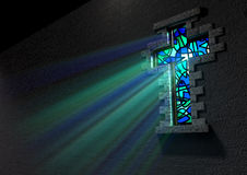 Stained Glass Window Crucifix. A blue and green patterned stain glass window in the shape of a crucifix with a spotlight shining through it stock illustration