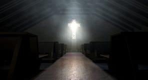 Stained Glass Window Crucifix Church Stock Photo