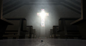 Stained Glass Window Crucifix Church Stock Photography