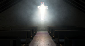 Stained Glass Window Crucifix Church Royalty Free Stock Photo