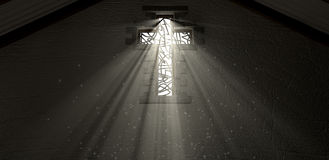 Stained Glass Window Crucifix Illuminated Light Rays Royalty Free Stock Photos