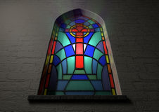 Stained Glass Window Crucifix Stock Photography