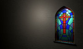 Stained Glass Window Crucifix Royalty Free Stock Images