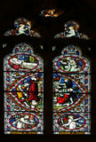 Stained glass window the crucifixtion of st peter Stock Images