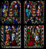 Stained glass window depicting the Annuciation and the Visit of Stock Photos