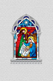 Stained glass window depicting Christmas scene in gray gothic fr stock illustration