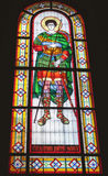 Stained glass window depicting great martyr Demetrius of Thessalonica. Royalty Free Stock Photo