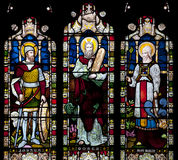 Stained Glass window depicting Joshua, Moses and Haron in Saint Nicholas Church, Arundel, West-Sussex, United Stock Image