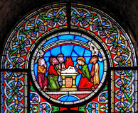 Stained glass window depicting the rainbow at the end of Noahs Royalty Free Stock Photography