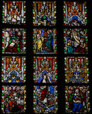Stained Glass Window Depicting Scenes In The Life Of Jesus Royalty Free Stock Photo