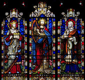Stained Glass window depicting Solomon, David and Hezekiah in Saint Nicholas Church, Arundel, West-Sussex. United Kingdom royalty free stock photo