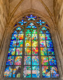 Stained-glass Window designed by Art Nouveau painter Alfons Much Stock Image