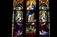 Stained glass window detail with Biblical scene Stock Photography