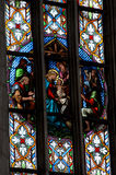 Stained glass window detail with Biblical scene Stock Photos