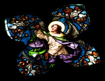 Stained glass window detail with Biblical scene Royalty Free Stock Photos