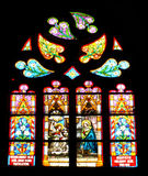 Stained glass window detail with Biblical scene Royalty Free Stock Photo