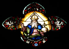 Stained glass window detail with Biblical scene Stock Image