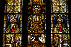 Stained glass window detail in Cluj Napoca. Saint Michael church Royalty Free Stock Image