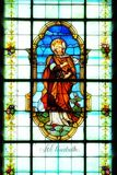 Stained glass window detail with Saint Elisabeth. Detail of the stained glass window with Saint Elisabeth Stock Photography