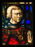 Stained glass window. Details of medieval stained glass window, from Malbork castle, Poland Stock Photo