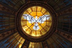 The stained glass window of the dome of the Berlin Cathedral. royalty free stock photography