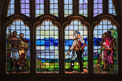 Stained glass window of Dr Livingstone - Livingstonia Mission Church Stock Photos