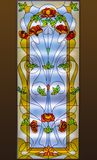 Stained-glass window with floral pattern.  Stock Image