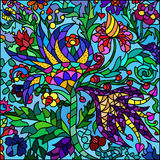 Stained-glass window, flowers. Colorful illustration Royalty Free Stock Photo