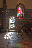 A stained glass window and glass door Stock Image