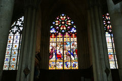 Stained glass window. Gothic cathedral of Saint Gatien Royalty Free Stock Photography