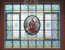 Stained glass window, Great hall of the Moscow Conservatory Royalty Free Stock Photo