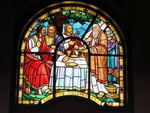 Stained glass window in Holy Trinity Cathedral royalty free stock image