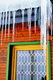 Stained glass window with icicles Royalty Free Stock Image