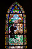 Stained glass window. Inside catholic church, Bariloche, Argentina Stock Images