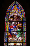 Stained glass window. Inside catholic church, Bariloche, Argentina Stock Photo