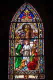Stained glass window. Inside catholic church, Bariloche, Argentina Royalty Free Stock Photo