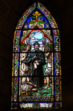 Stained glass window. Inside catholic church, Bariloche, Argentina Royalty Free Stock Image