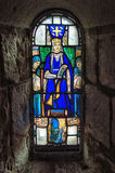 A Stained glass window. Inside the Chapel in Edinburgh Castle royalty free stock photo