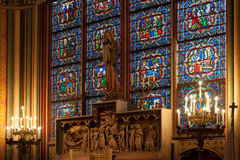 Stained-glass window inside the church Royalty Free Stock Photography