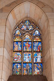 Stained-glass window inside the church Stock Image