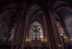 The stained glass Window inside Notre Dame Cathedral. Stock Photos