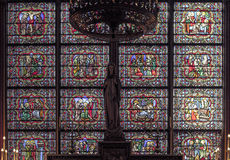 The stained glass Window inside Notre Dame Cathedral. Royalty Free Stock Image