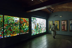Stained-glass window in interior of Museum of Catalan Modernisme Royalty Free Stock Photography