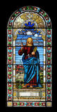 Stained glass window with Jesus Stock Image