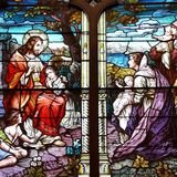 Stained Glass Window with Jesus Royalty Free Stock Photography