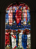 Stained glass window Jesus Christ and his Disciple Stock Photo