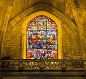 Stained-glass window in La Giralda, Seville. Spain stock image