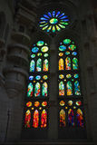 Stained glass window of La Sagrada Familia Royalty Free Stock Photo