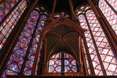 Stained glass window in La Sainte-Chapelle, Paris Royalty Free Stock Images